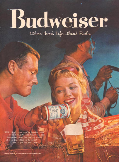 Budweiser Beer Night Ride 1959 | Vintage Ad and Cover Art 1891-1970