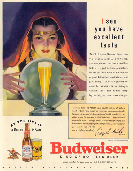 Budweiser Beer Taste 1937 Fortune Teller Gypsy | Sex Appeal Vintage Ads and Covers 1891-1970