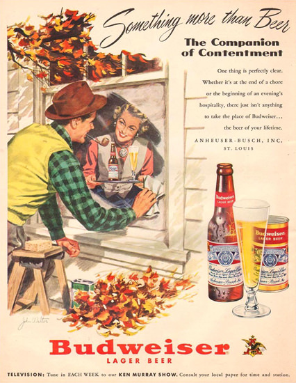 Budweiser Beer The Window Cleaner 1951 | Vintage Ad and Cover Art 1891-1970