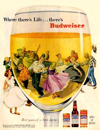 Budweiser Beer Theres Life 1955 Dance Floor | Vintage Ad and Cover Art 1891-1970