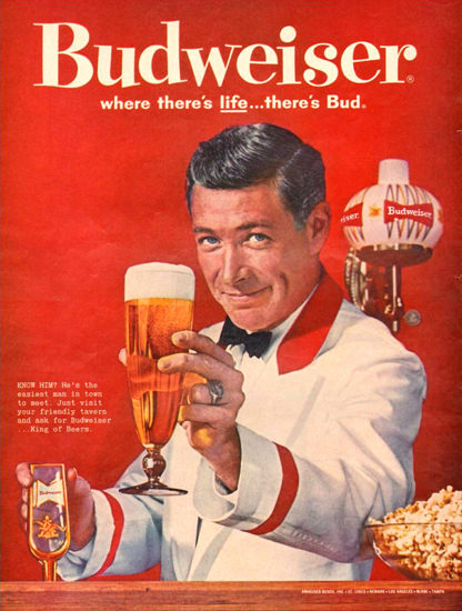 Budweiser Beer Theres Life Barkeeper 1961 | Sex Appeal Vintage Ads and Covers 1891-1970