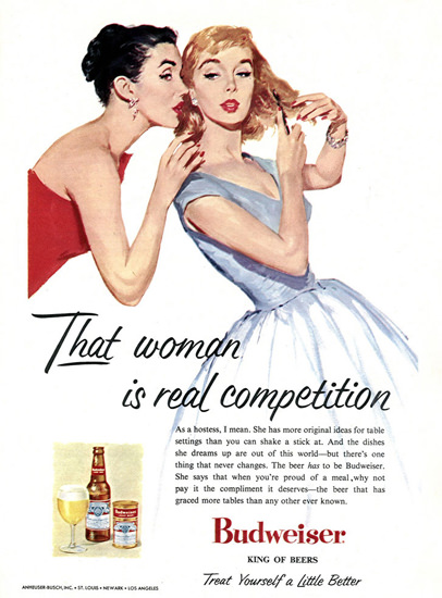 Budweiser Beer Woman Is Real Competition 1956 | Sex Appeal Vintage Ads and Covers 1891-1970