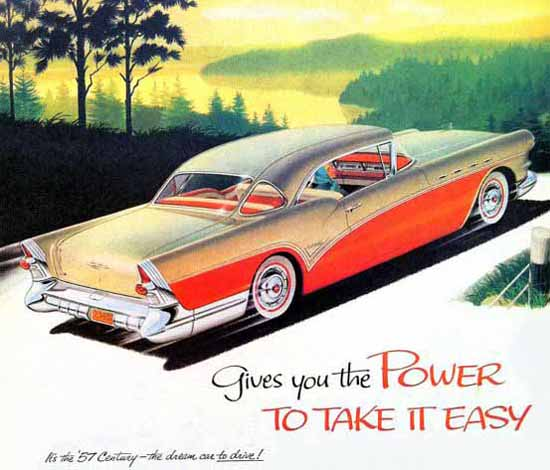Buick 1957 Ad Power to take it Easy | Vintage Cars 1891-1970