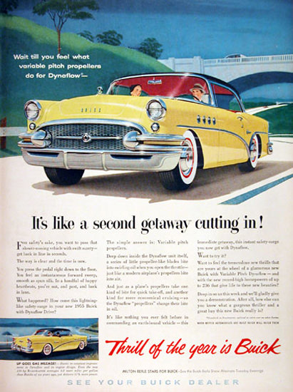 Buick Century 1955 Yellow Second Getaway   Vintage Cars 1891-1970