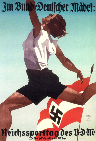 Bund Deutscher Maedel Reichssporttag 1934 | Vintage War Propaganda Posters 1891-1970