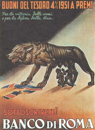 Buoni Di Tresor 1951 Romulus Remus Defend   Vintage War Propaganda Posters 1891-1970