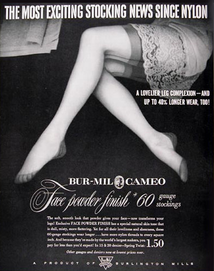 Bur-Mil Cameo Nylon Stockings News Burlington | Sex Appeal Vintage Ads and Covers 1891-1970