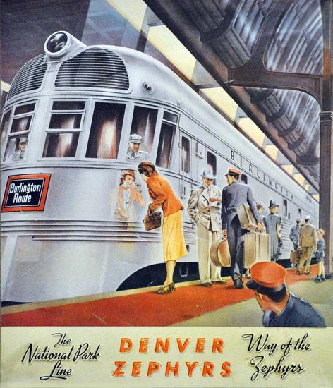 Burlington Route National Park Line Zephyr 1936 | Vintage Travel Posters 1891-1970