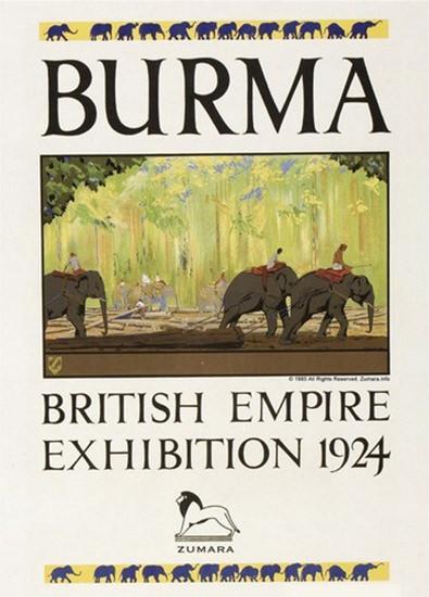 Burma Elephants British Empire Exhibition 1924 | Vintage Travel Posters 1891-1970