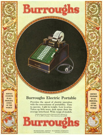 Burroughs Electric Portable | Vintage Ad and Cover Art 1891-1970