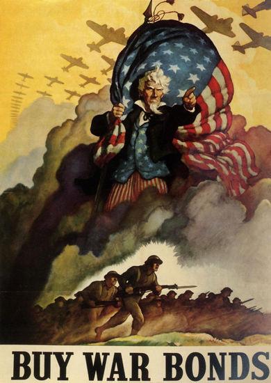 Buy War Bonds Unkle Sam Battlefield | Vintage War Propaganda Posters 1891-1970