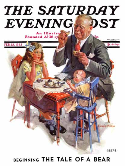 C Gager Phillips Saturday Evening Post Tea for Grandpa 1933_02_18 | The Saturday Evening Post Graphic Art Covers 1931-1969