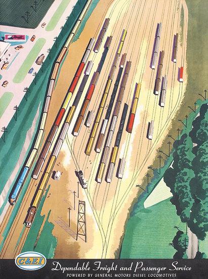 CEI General Motors Diesel Locomotives 1950s | Vintage Travel Posters 1891-1970