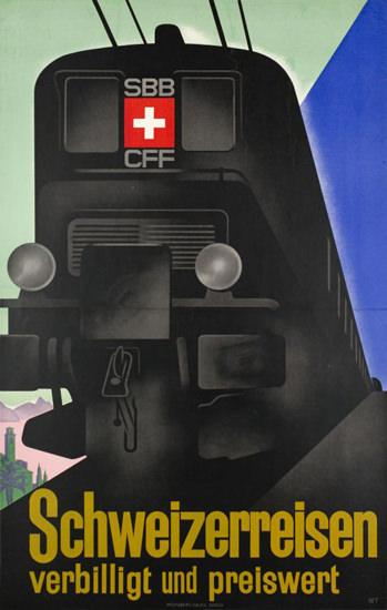 CFF SBB Schweizerreisen Switzerland  1932 | Vintage Travel Posters 1891-1970