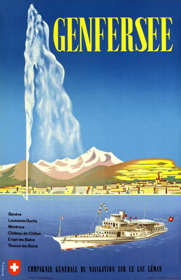 CGN Genfersee Lac Leman Geneva 1957 | Vintage Travel Posters 1891-1970