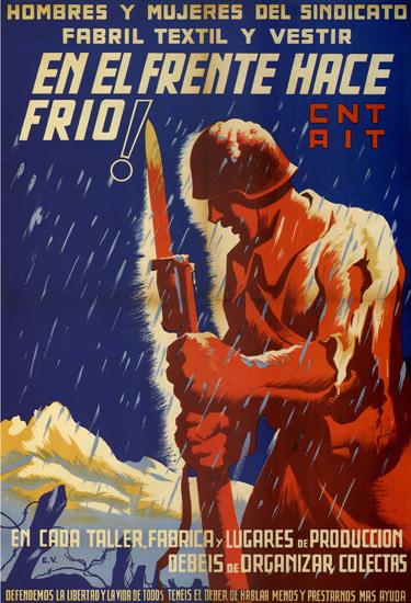 CNT AIT El Frente Hace Frio Spain Espana   Vintage War Propaganda Posters 1891-1970