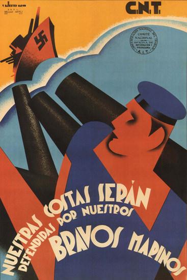 CNT Bravos Marinos Spain Espana | Vintage War Propaganda Posters 1891-1970