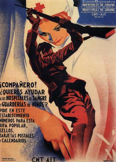 CNT Companero Ayudar A Los Hospitales Espana   Vintage War Propaganda Posters 1891-1970