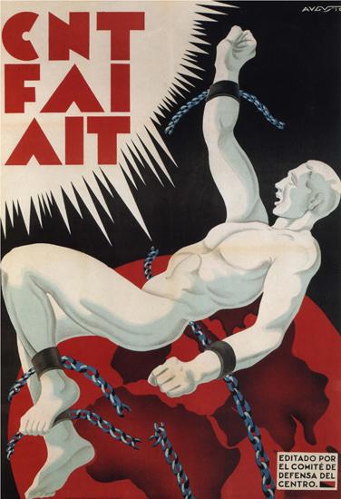 CNT FAI AIT Defensa Del Centro Spain Espana   Vintage War Propaganda Posters 1891-1970