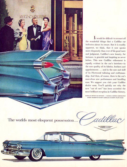 Cadillac Ritz Carlton Eloquent Possession 1959 | Sex Appeal Vintage Ads and Covers 1891-1970