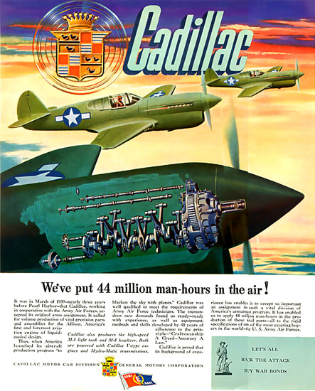 Cadillac We Put 44 Million Man-Hours In Air 1944 | Vintage War Propaganda Posters 1891-1970