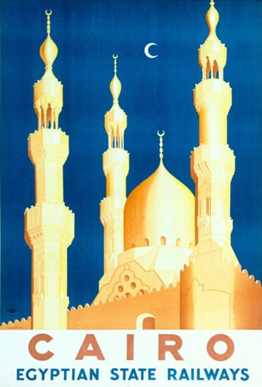 Cairo Egyptian State Railways Mosque Moon | Vintage Travel Posters 1891-1970