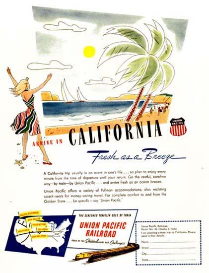 California 1947 Union Pacific Railroad Breeze | Vintage Travel Posters 1891-1970