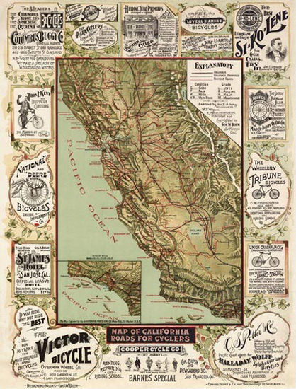 California Advertising Map 1895 | Vintage Travel Posters 1891-1970