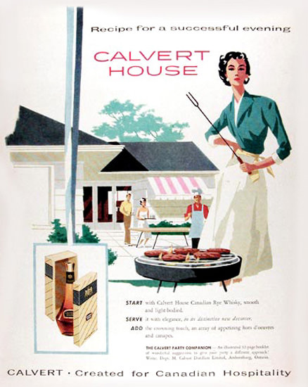 Calvert House Canadian Whisky 1958 Barbecue | Sex Appeal Vintage Ads and Covers 1891-1970