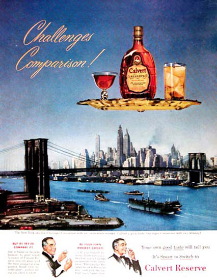 Calvert Reserve Whiskey 1950 New York | Vintage Ad and Cover Art 1891-1970