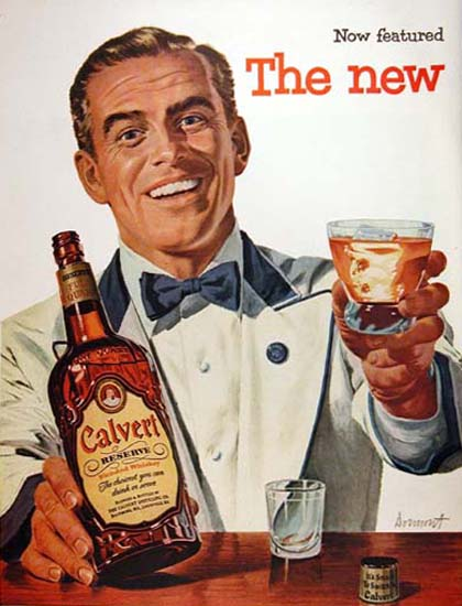 Calvert Reserve Whiskey 1954 Barkeeper | Sex Appeal Vintage Ads and Covers 1891-1970