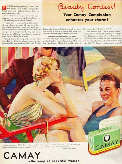 Camay Soap Admired Girl At The Beach | Sex Appeal Vintage Ads and Covers 1891-1970