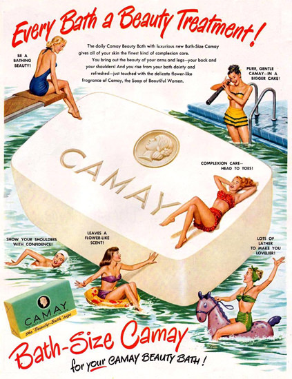 Camay Soap Bath-Size Beauties 1949 | Sex Appeal Vintage Ads and Covers 1891-1970