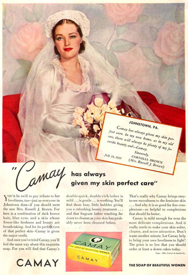 Camay Soap Bride Cornelia Brown 1936 | Sex Appeal Vintage Ads and Covers 1891-1970