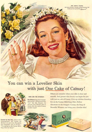 Camay Soap Shirley E Brooke Bridal Portrait 1948   Sex Appeal Vintage Ads and Covers 1891-1970