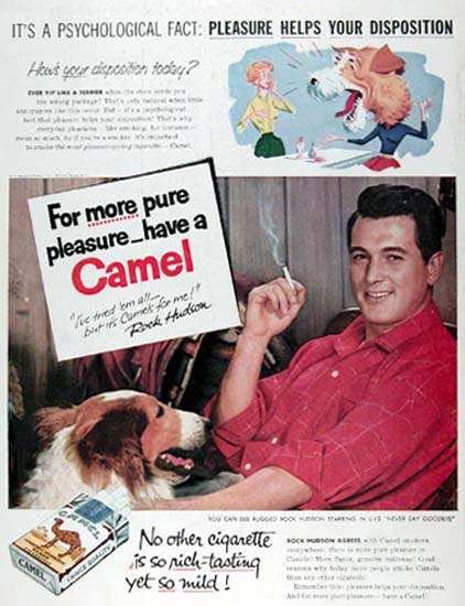 Camel 1956 Rock Hudson Its A Psychological Fact | Sex Appeal Vintage Ads and Covers 1891-1970