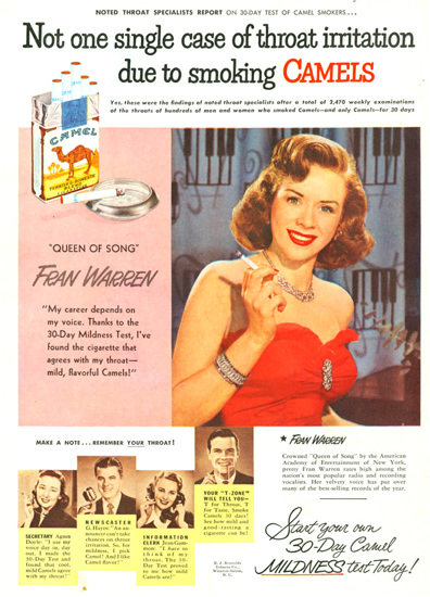 Camel Cigarettes Fran Warren 1950 | Sex Appeal Vintage Ads and Covers 1891-1970