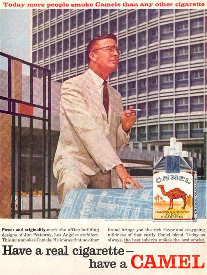 Camel Cigarettes Jim Petteway Architect 1958 | Sex Appeal Vintage Ads and Covers 1891-1970