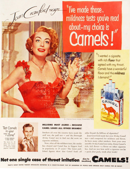Camel Cigarettes Joan Crawford 1951 | Sex Appeal Vintage Ads and Covers 1891-1970