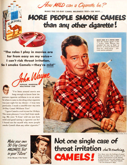 Camel Cigarettes John Wayne 1950 | Sex Appeal Vintage Ads and Covers 1891-1970