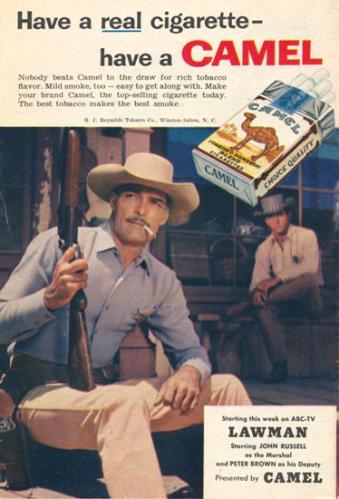 Camel Cigarettes Lawman John Russell 1958 | Sex Appeal Vintage Ads and Covers 1891-1970