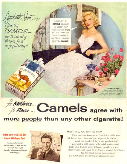 Camel Cigarettes Lizabeth Scott 1953 | Sex Appeal Vintage Ads and Covers 1891-1970