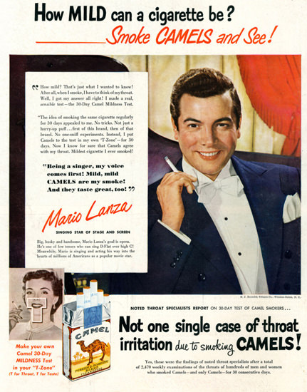 Camel Cigarettes Mario Lanza 1950 | Sex Appeal Vintage Ads and Covers 1891-1970