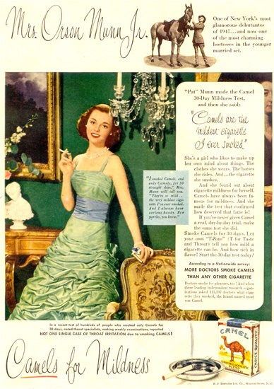 Camel Cigarettes Mrs Orson Munn Jr 1949 | Sex Appeal Vintage Ads and Covers 1891-1970