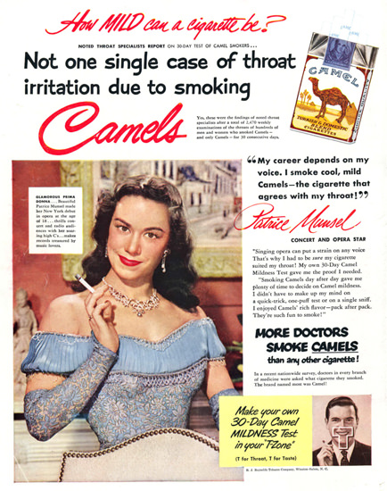Camel Cigarettes Patrice Munsel 1951 | Sex Appeal Vintage Ads and Covers 1891-1970