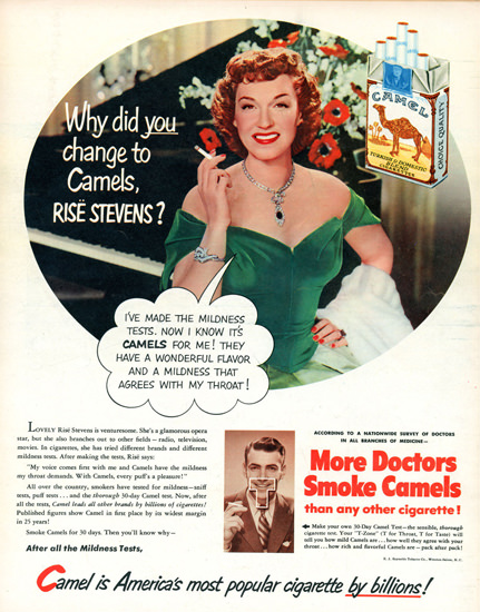 Camel Cigarettes Rise Stevens 1951 | Sex Appeal Vintage Ads and Covers 1891-1970