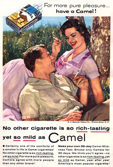 Camel Cigarettes Under A Tree 1955 | Sex Appeal Vintage Ads and Covers 1891-1970