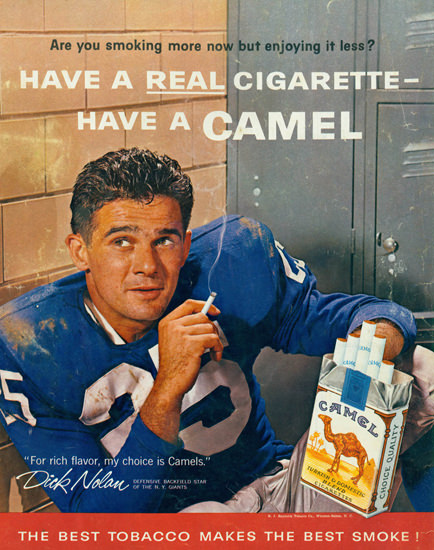 Camel Dick Nolan New York Giants NFL 1961 | Sex Appeal Vintage Ads and Covers 1891-1970