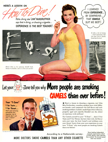 Camel Jim Fairbrother How To Dive 1948   Sex Appeal Vintage Ads and Covers 1891-1970