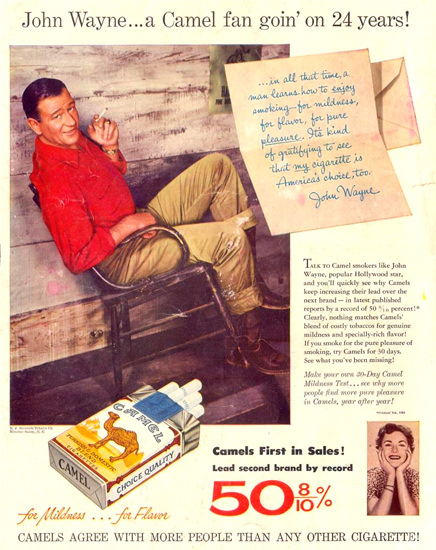 Camel John Wayne Camel Fan For 24 Years 1952 | Sex Appeal Vintage Ads and Covers 1891-1970